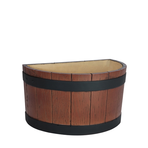 Wood Grain Effect Half Barrel End Ice Tub 7Ltr Brown
