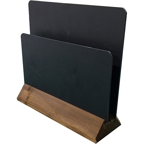 Double Sided Chalkboard Menu Holder With Gap 180 x 200 x 60mm Black