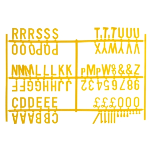 """Beaumont 3/4"""" Letter Set (540 characters) Yellow"""