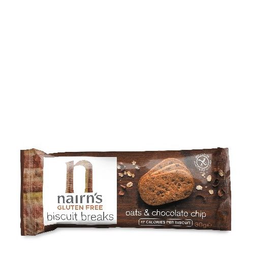 Nairns Gluten Free Oats & Choc Chip Biscuit Breaks Brown