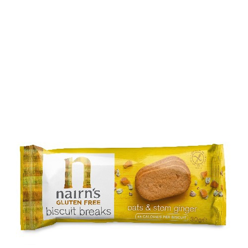 Nairns Gluten Free Oats & Stem Ginger Biscuit Yellow