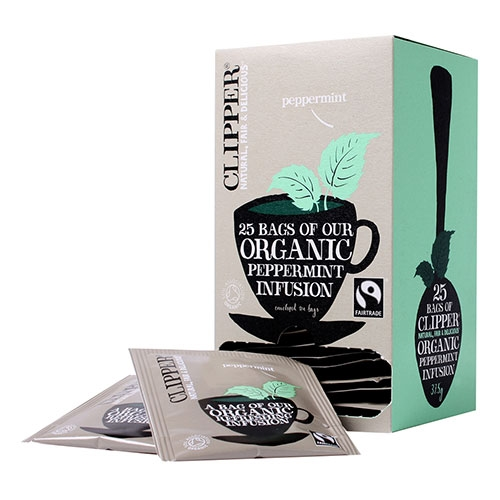 Clipper Fairtrade Organic Peppermint Infusion Enveloped Tea Bags 25 Envelopes