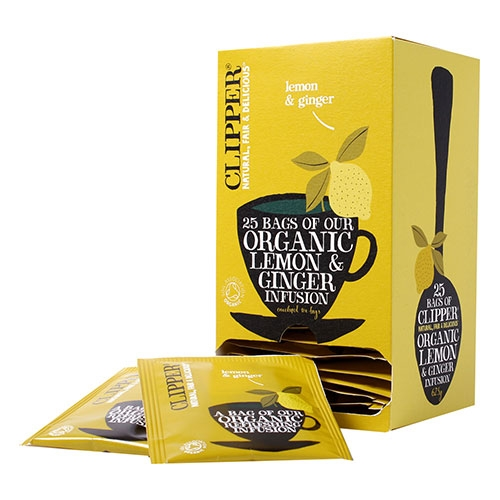 Clipper Fairtrade Organic  Lemon & Ginger Enveloped Tea Bags 25 Envelopes