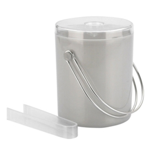 Acrylic Ice Bucket & Tongs 1.7Ltr Matt Silver
