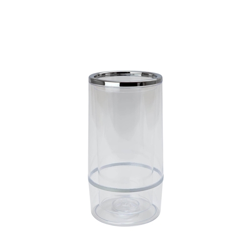 Beaumont Chrome & Plastic Double Wall Wine Cooler H22.7x11.5cm Clear