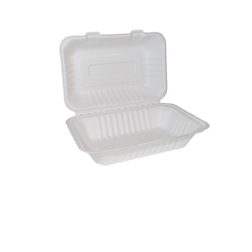 """Bagasse Clamshell Lunch Box 9"""" x 6"""" White"""
