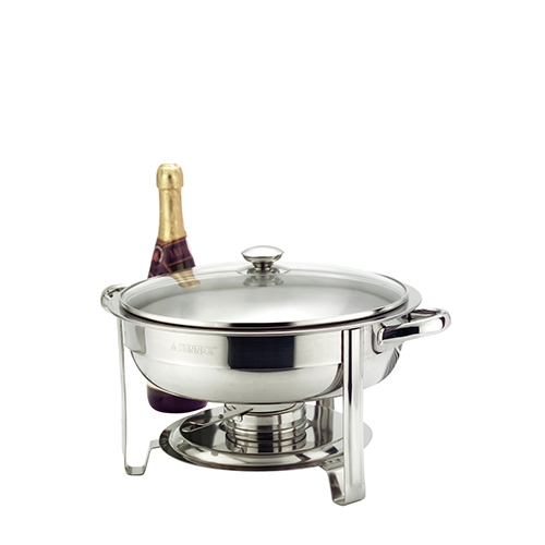 Sunnex Stainless Steel Round Chafing Dish with Glass Lid 4.5Ltr Silver