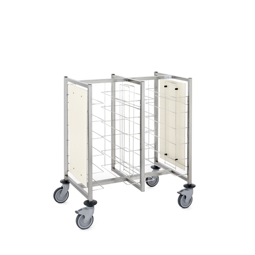 Tournus Self-Service Tray Clearing Trolley  2 x 6 Tiers With Panels Stainless Steel