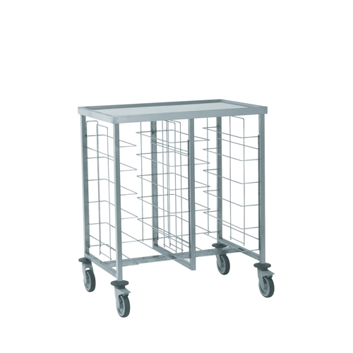 Tournus Self-Service Tray Clearing Trolley  2 x 6 Tiers With Upper Shelf Stainless Steel