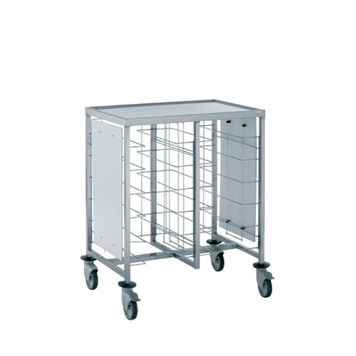 Tournus Self-Service Tray Clearing Trolley  2 x 6 Tiers With Upper Shelf & Panels Stainless Steel