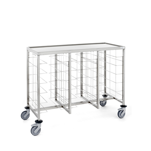 Tournus Self-Service Tray Clearing Trolley  3 x 6 Tiers With Upper Shelf Stainless Steel