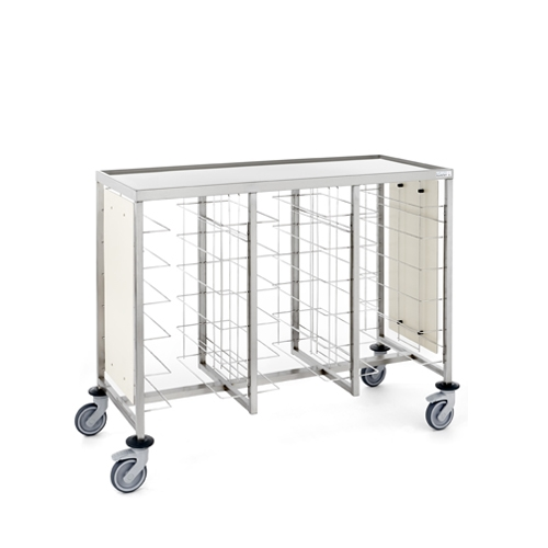 Tournus Self-Service Tray Clearing Trolley  3 x 6 Tiers With Upper Shelf & Panels Stainless Steel