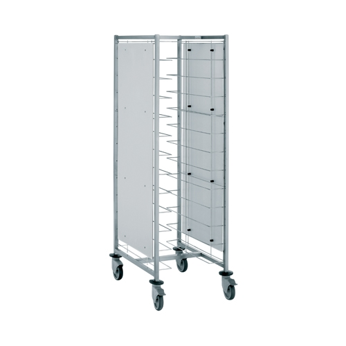 Tournus Self-Service Tray Clearing Trolley  1 x 12 Tier with Panels - Tray Entry Width Way Stainless Steel