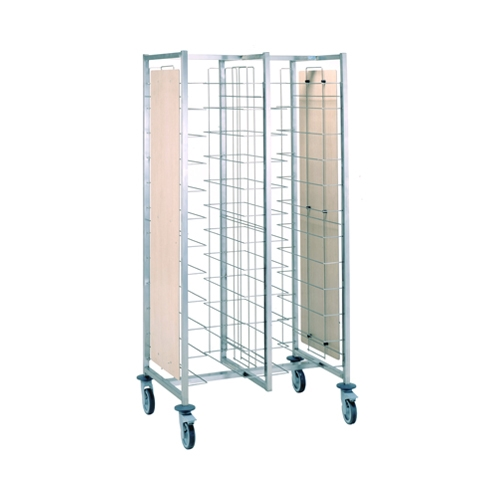 Tournus Self-Service Tray Clearing Trolley 2 x 12 Tier with Panels - Tray Entry Width Way Stainless Steel