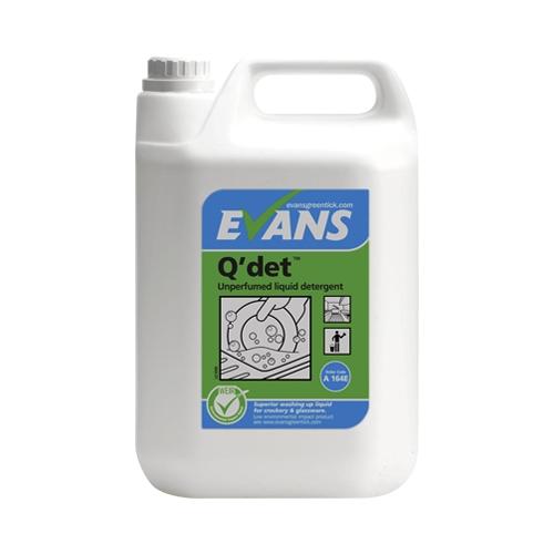 Evans Vanodine Q'Det Unperfumed Washing Up Liquid Detergent 5 Ltr