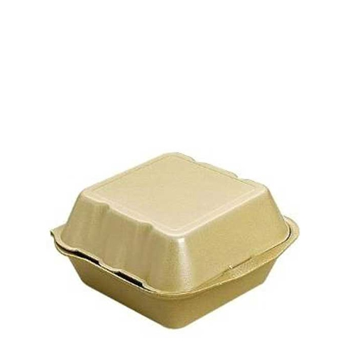 Large  Foam Burger Box 15cm x 15cm x 7.5cm Gold