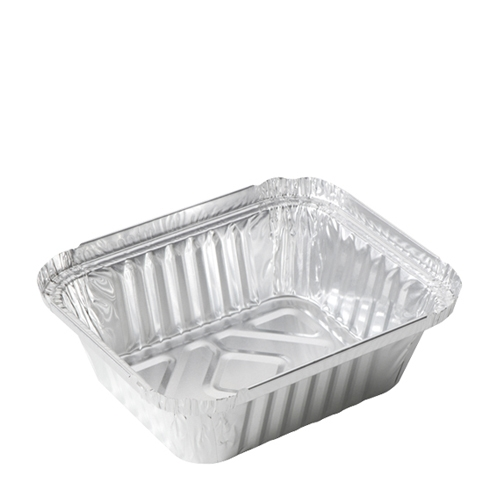 Rectangular  Foil Container 14.1cm x 11.6cm x 4.1cm Silver