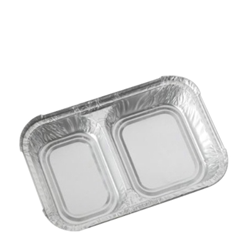 2 Compartment  Foil Container 198x130x30mm Silver
