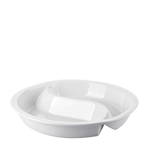 Round Divided Ceramic Chafing Dish Insert 37.5cm White
