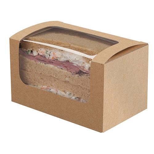 Colpac Tuck Top Square-cut Sandwich Box 125x77x72mm Kraft
