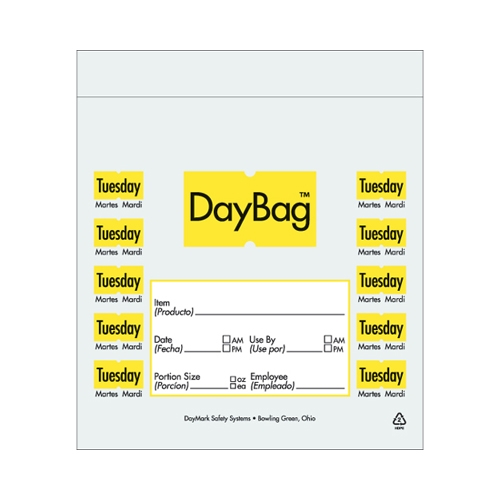Day of the Week  Portion Bag Tuesday 5.5x5.5