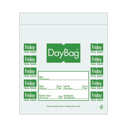 "Day of the Week  Portion Bag Friday 5.5x5.5"" (14x14cm) Green"