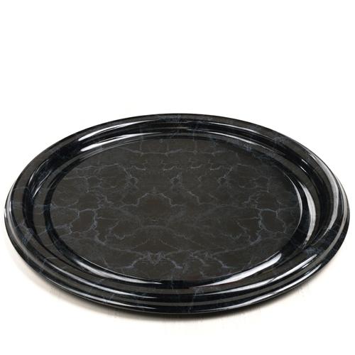 Sabert Black Marble Round Platter 18