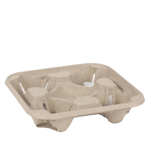 Moulded Fibre Cup Carrier 4 Cup Natural