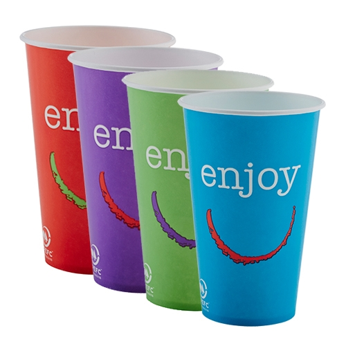Huhtamaki Enjoy  Paper Cold Cup 12oz Mixed Sleeve