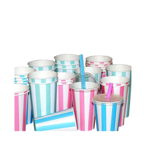 Candy Stripe  Paper Cold Cup 12oz Pink