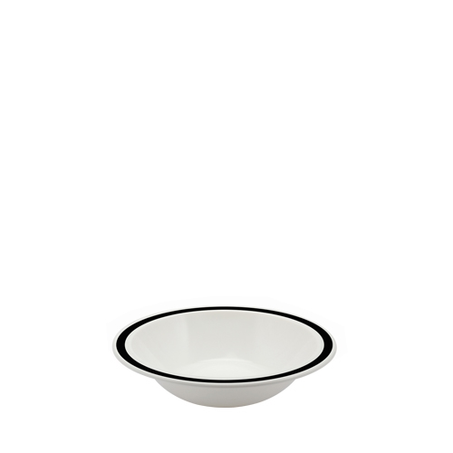 Harfield Polycarbonate Duo Bowl with Black Rim 17.3cm White