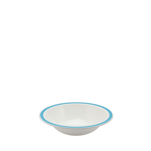 Harfield Polycarbonate Duo Bowl with Summer Blue Rim 17.3cm White