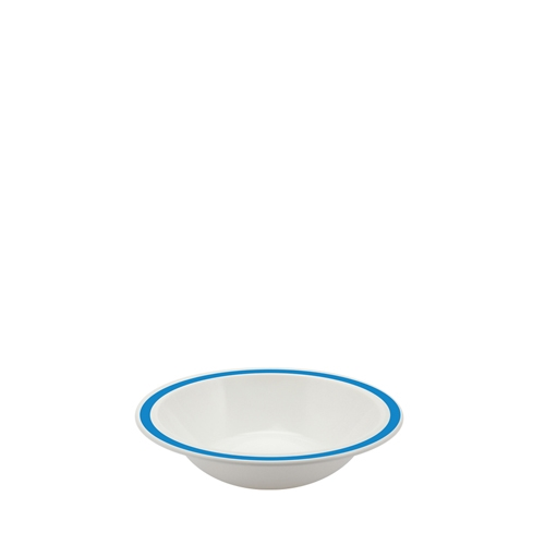 Harfield Polycarbonate Duo Bowl with Medium Blue Rim 17.3cm White