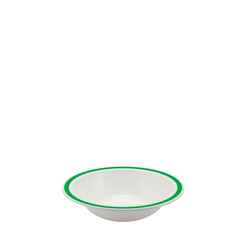 Harfield Polycarbonate Duo Bowl with Emerald Green Rim 17.3cm White