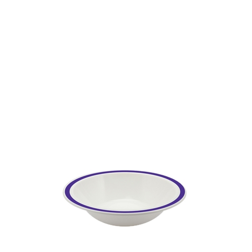 Harfield Polycarbonate Duo Bowl with Purple Rim 17.3cm White