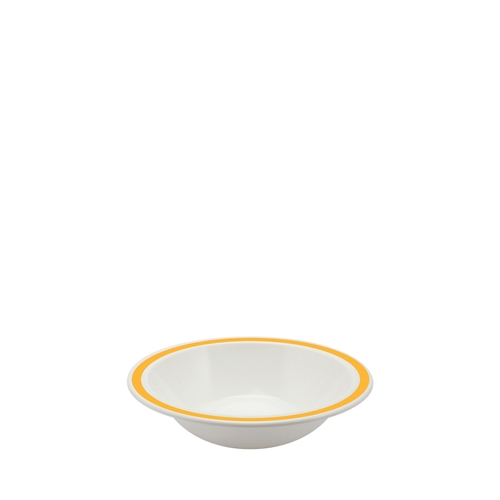 Harfield Polycarbonate Duo Bowl with Yellow Rim 17.3cm White