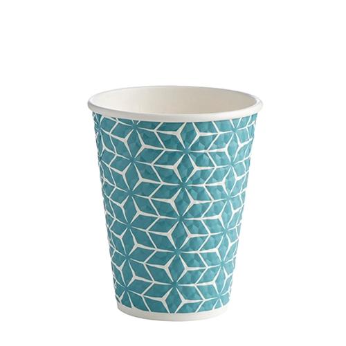 Premium Embossed  Diamond Hot Cup 12oz Blue