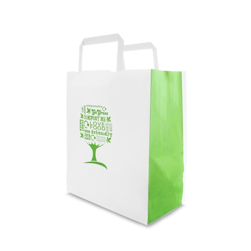 Vegware Green Tree Paper Tape Carrier 22 x 11 x 25cm White/Green