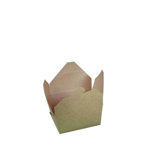No. 1 Hinged Leakproof Food Carton 9 x 11 x 6.5cm Kraft