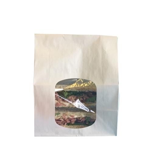 White Kraft  Sandwich/Cookie Bag PP Window 6