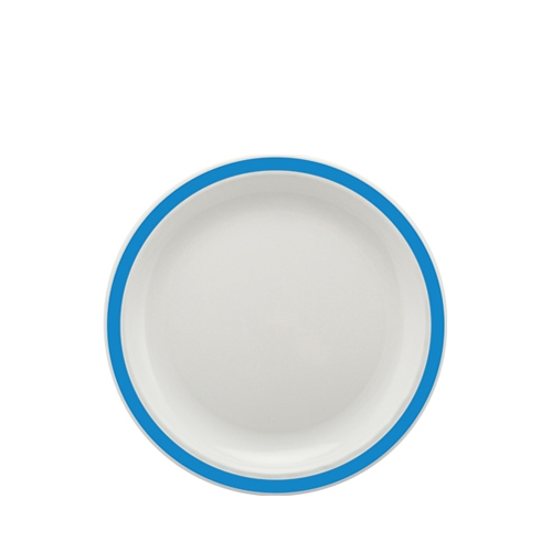 Harfield Polycarbonate Large Duo Plate with Medium Blue Rim 23cm White