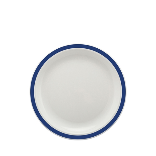 Harfield Polycarbonate Large Duo Plate with Royal Blue Rim 23cm White