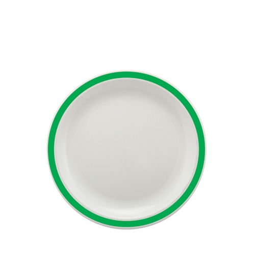 Harfield Polycarbonate Large Duo Plate with Emerald Green Rim 23cm White