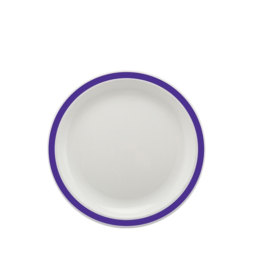 Harfield Polycarbonate Large Duo Plate with Purple Rim 23cm White