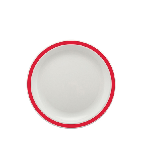 Harfield Polycarbonate Large Duo Plate with Red Rim 23cm White