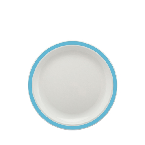 Harfield Polycarbonate Large Duo Plate with Summer Blue Rim 23cm White