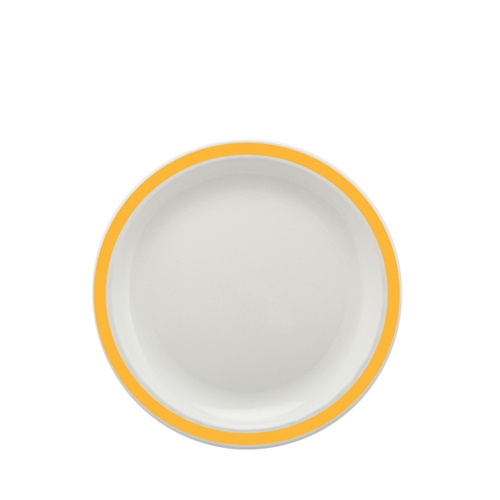 Harfield Polycarbonate Large Duo Plate with Yellow Rim 23cm White