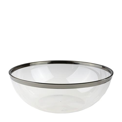 Sabert Mozaik Silver Rim Disposable Serving Bowl 53oz Clear