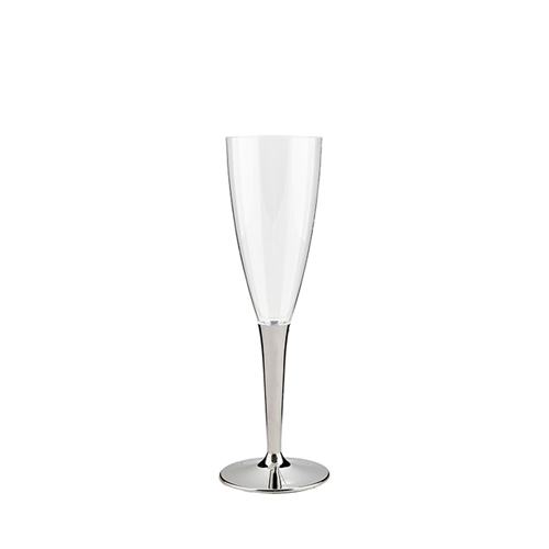 Sabert Mozaik Plastic Silver Stem Champagne Flute 10cl Clear