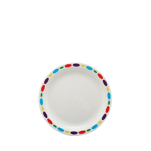 Harfield Polycarbonate Small Duo Plate with Pebbles Rim 17cm White